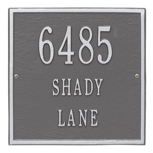 Whitehall Square Address Plaque Pewter Silver
