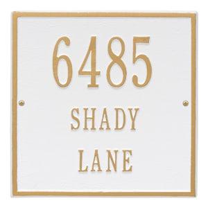Whitehall Square Address Plaque White Gold