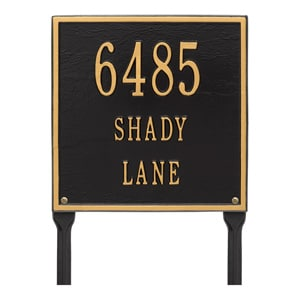Whitehall Square Lawn Marker Black Gold