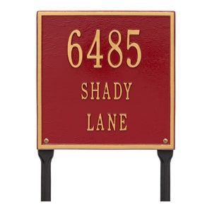 Whitehall Square Lawn Marker Red Gold