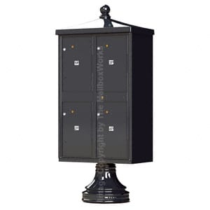 4 Door Parcel Locker Traditional Black