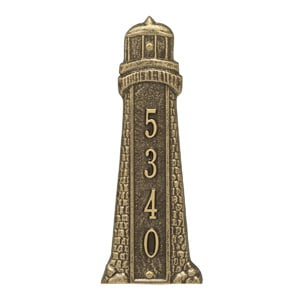 Whitehall Lighthouse Vertical Address Plaque Antique Bronze