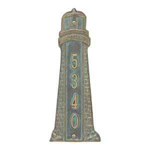 Whitehall Lighthouse Vertical Plaque Bronze Verdigris
