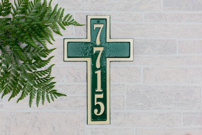 Majestic Cross Solid Brass Address Plaque Installed Look