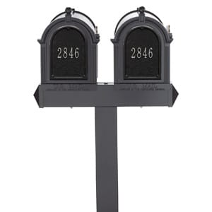 Whitehall Mailboxes Dual Post Black Silver