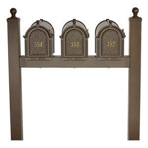 Whitehall Mailboxes Triple Mount Post Bronze