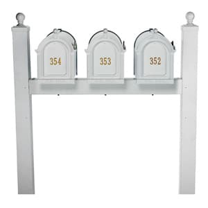 Whitehall Mailboxes Triple Mount Post White