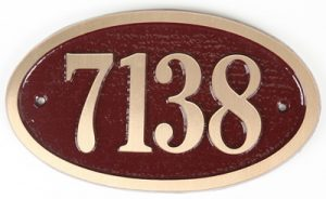 Majestic Small Oval Brass Address Plaque